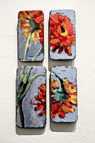 Daisies, 12x5in, acrylic on cell phones, magnets