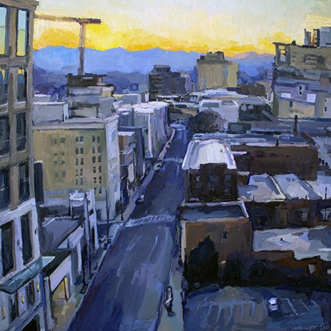 Asheville Skyline, 40x40in, oil on canvas, sold