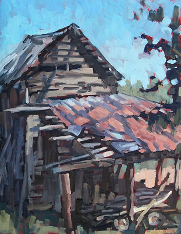 Finley's Shed, 14x18in, Paint it Orange Plein Air Event First Place Award, Sold