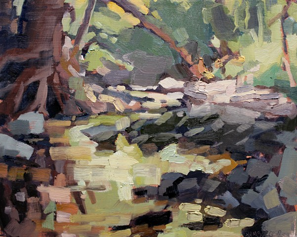 Botanical Garden Creek, 8x10in, oil on canvas, sold
