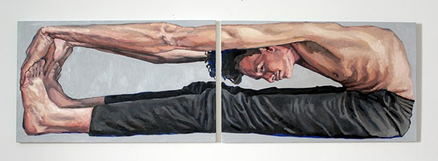 Feedback Loop, 30x96, oil on two canvases, sold