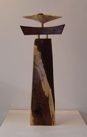Walnut, willow, and stone freestanding sculpture