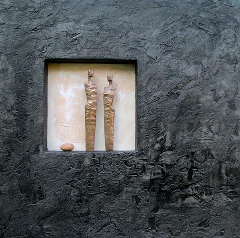 Bronze Figures with stone