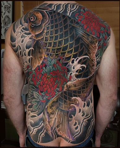 Japanese Koi and Chrysanthemum