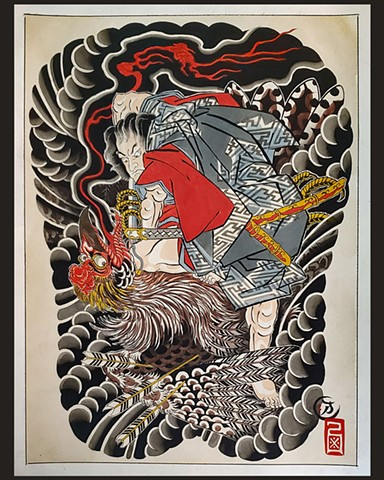 Oki no Jiro Fights a Monster Bird  Saihosha Kuniyoshi Study c.1810  ORIGINAL PAINTING FOR SALE