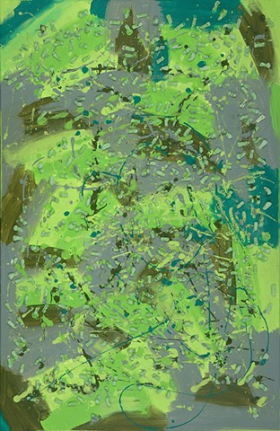 biodegradable green painting (nods to pollock and kiefer)