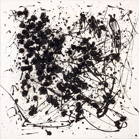 black pom-poms and drips on white painting (ode to pollock)