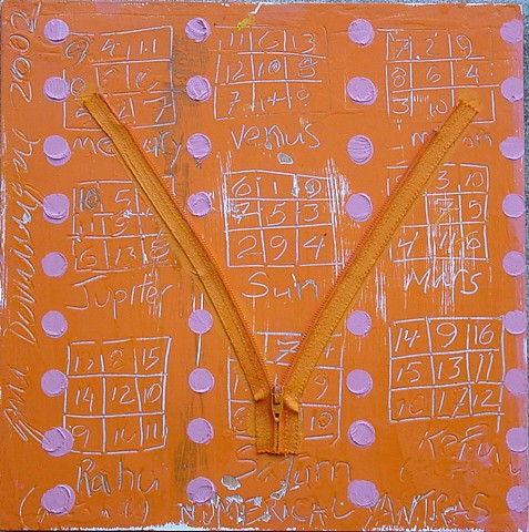 small orange yantra painting
