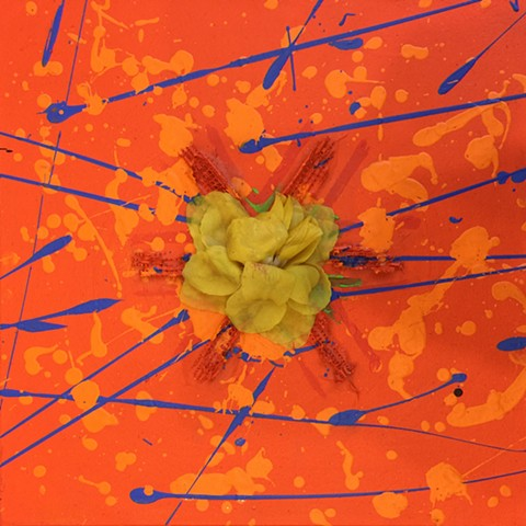 Gina Dominique - small orange yantra painting with yellow flower