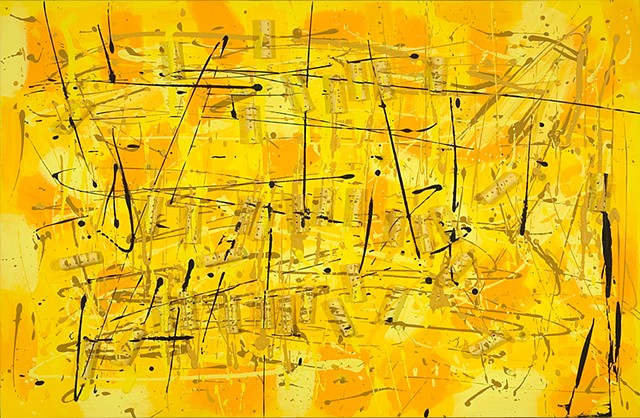 yellow drips and plastic curlers painting (nods to pollock and shapiro)