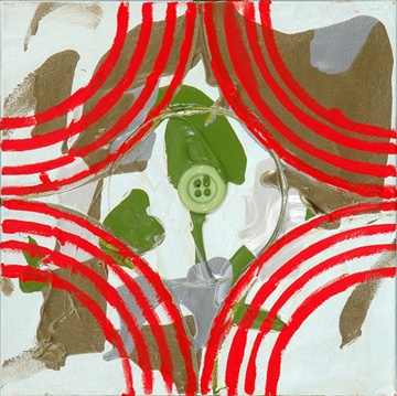 red arcs and green button from intersecting arcs paintings