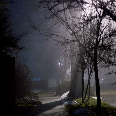 foggy night walking in the neighborhood