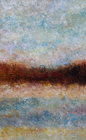 Almost a candy landscape with the heavy impasto! Abstract landscape painting by Bill Colburn.