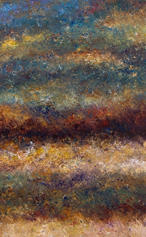 Another abstract landscape painting that looks to me like a layer cake! Abstract landscape painting by Bill Colburn.