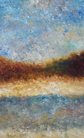 On a hot summer day the colors of the street and sky almost become the same. Abstract landscape painting by Bill Colburn.