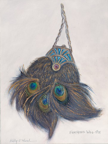 Art Deco, peacock feathered, purse with a purple gem.