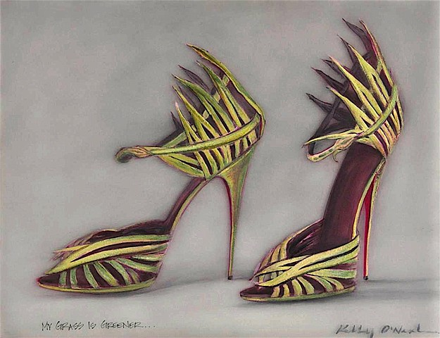 Grass green, grass blade designed shoe with a snake design strap, and red soles.