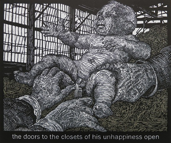 Mark Strand, The Room, woodcut, Alice Leora Briggs, chine colle