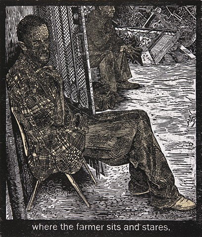 woodcut print, inmate of Juarez asylum, Mark Strand's poem, The Room