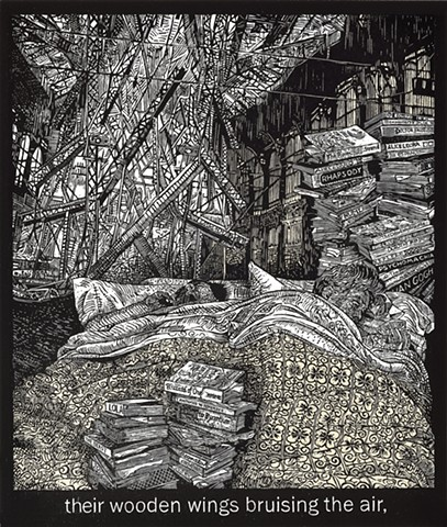 woodcut print, books, chine collé, Mark Strand's poem, The Room, Alice Leora Briggs