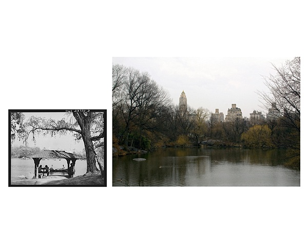 View from smaller lake,  Central Park, NYC 1943 & 2007