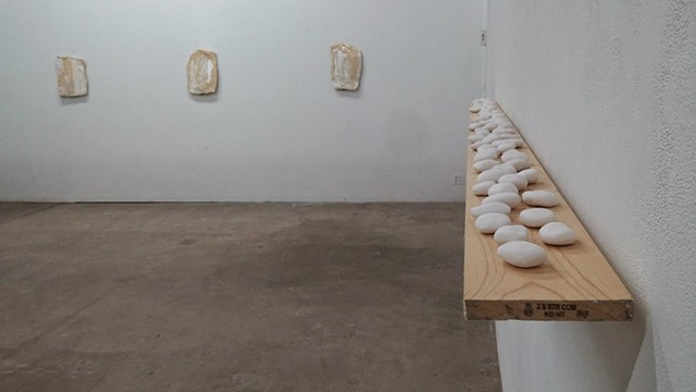 Installation view: Untitled (Prototype for Self-portrait in the Form of White River Rocks),  Untitled (Self-portrait in the form of Stone Tablets)