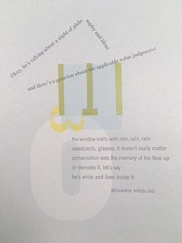 letterpress broadside of poem by Benjamin Krusling