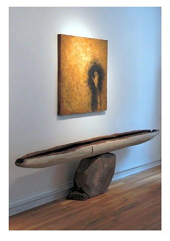 the fifth element, 2000, stone, earth pigment clay, fire, water, charcoal, hair, rusted metal, various dimensions: (boat) 8ft x 1ft, (wall painting) 48 x 48""