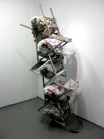 Folded Chair Bag Tower