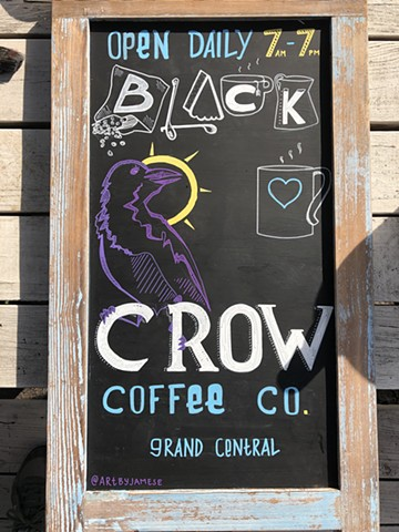 Sign for Black Crow Coffee