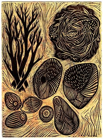 "Linocut ""Gathering"" by Aijung Kim"