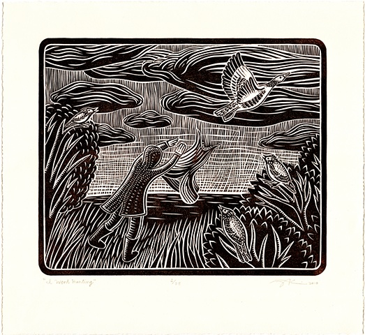 "Linocut print ""I Went Hunting"" by Aijung Kim inspired by lyrics from a song by Alasdair Roberts"