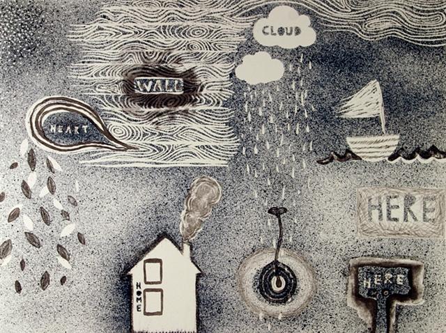 Heart, Wall, Cloud, Home, Here