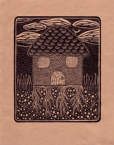 """""""Rooted"""" linocut print by Aijung Kim"""