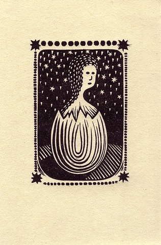 """Eggling Child"" linocut print by Aijung Kim"