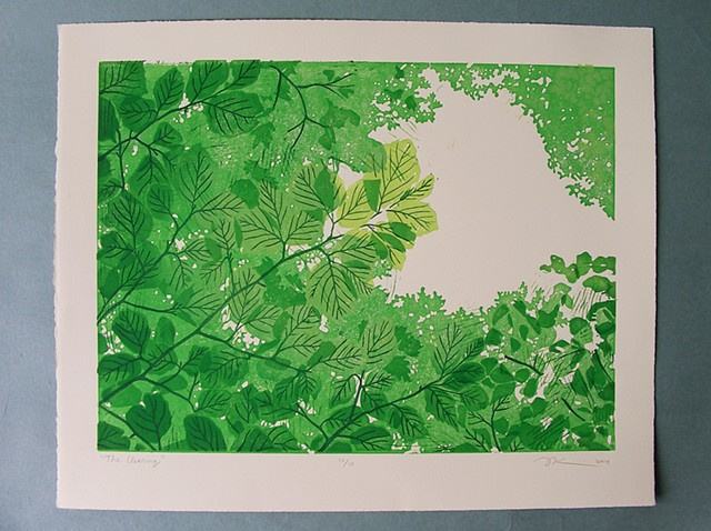 "Linocut print, ""The Clearing"" by Aijung Kim www.sprouthead.etsy.com"