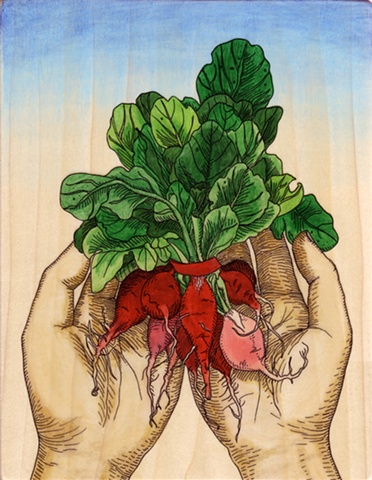 gel transfer painting of hands holding a handful of radishes in the spring