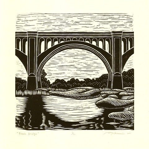 Linocut print of a train bridge in Richmond, VA by Aijung Kim original illustration for Grant Hunnicutt album