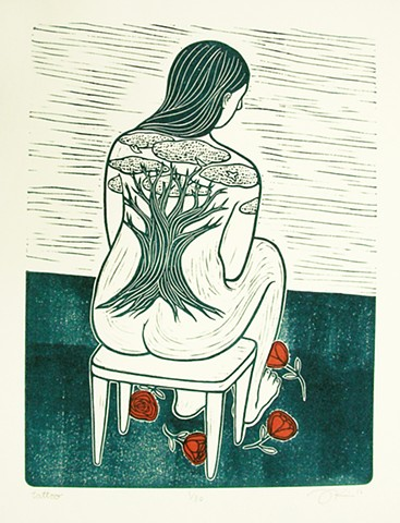 "Linocut print with chine colle ""Tattoo"" by Aijung Kim www.sprouthead.etsy.com"