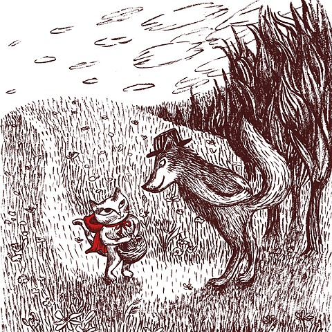 """Little Red Riding Hood"" children's book illustration by Aijung Kim / www.aijungkim.com / www.sprouthead.etsy.com"
