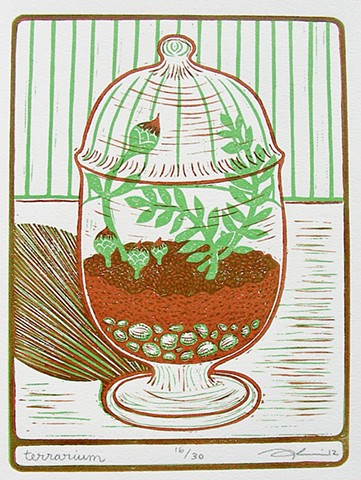 "Linocut print, ""Terrarium"" by Aijung Kim www.sprouthead.etsy.com"