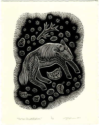 "Linocut ""Horse Constellation"" by Aijung Kim of Sprout Head"