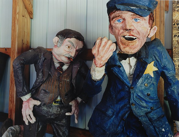Figures of Company Boss and Corrupt Official, Storage, Discovery Center, Formerly Ironworld, Chisholm, Minnesota 2014
