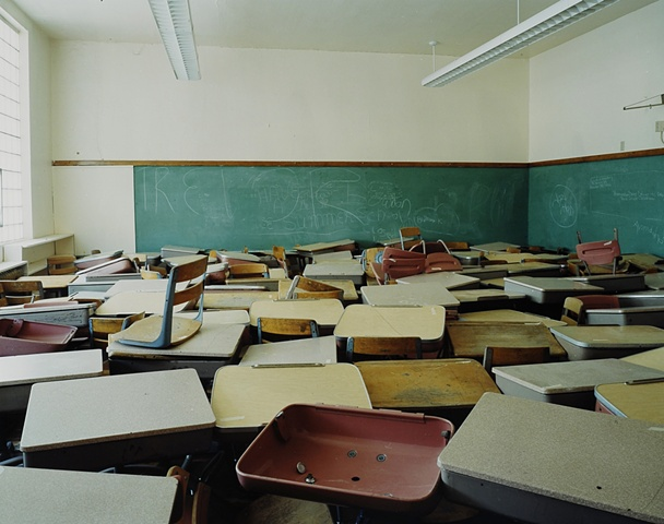 Desks, Bowdon School,Closed 2001, Bowdon, North Dakota  2004