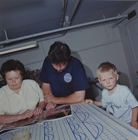 MaryAnne, Paul and Timmy planning a new outfit, Eveleth, Minnesota 1995