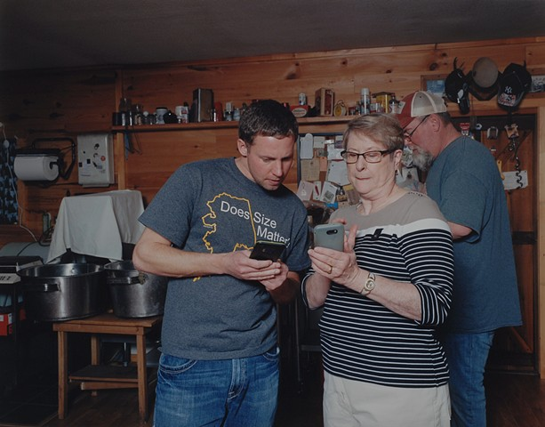 Jeff and Meegan Downloading An App for Photographing The Northern Lights, Iron Junction, Minnesota 2020