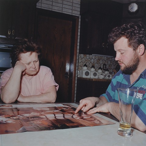 MaryAnne and Paul planning for this year's dress, Eveleth, Minnesota 1996