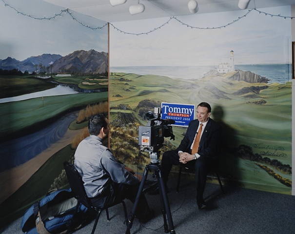 Interview, After Town Hall Meeting with Tommy Thompson, West Link Golf Course, Alta, Iowa. June 2, 2007.