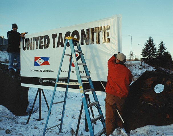 Jim and Pete Installing A New Sign at the Thunderbird Mine, Eveleth, Minnesota 2003