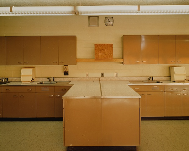Home Economics Room With Clock, Willow City School, Closed 2003, Willow City, North Dakota 2003